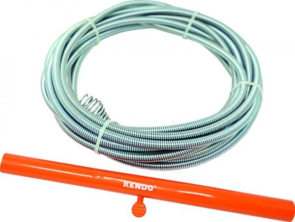 KENDO Rohrreinigungsspirale - Rohr-Durchmesser Ø 9 mm - Bohrkopf-Durchmesser Ø 25 mm - Länge 7.6 m