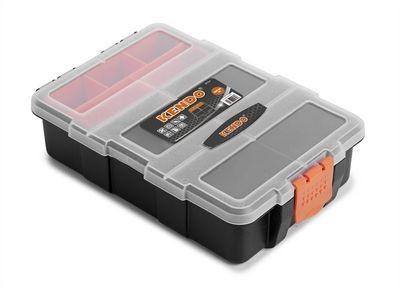 KENDO Sortimentskasten - Stapelbarer Werkzeugkasten - Für Kleinteile und Werkzeug - 15.5 x 22 x 6 cm